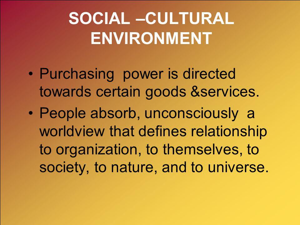 SOCIAL –CULTURAL ENVIRONMENT