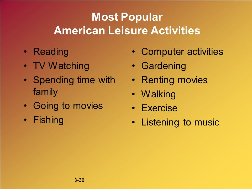 Most Popular American Leisure Activities
