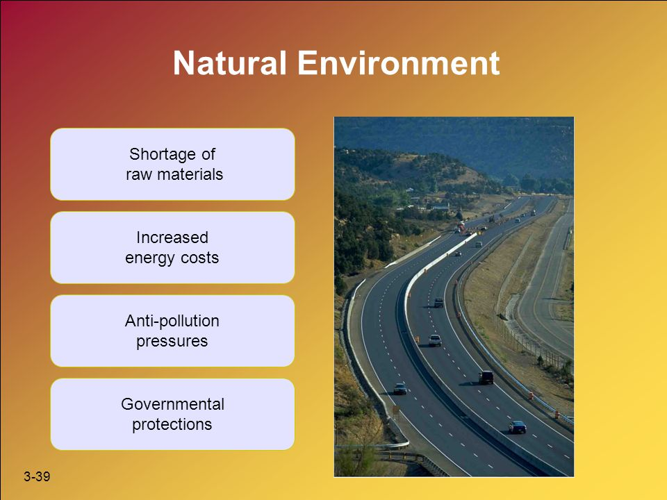 Natural Environment Shortage of raw materials Increased energy costs