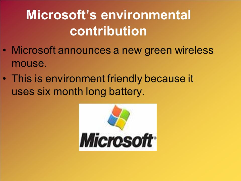 Microsoft's environmental contribution