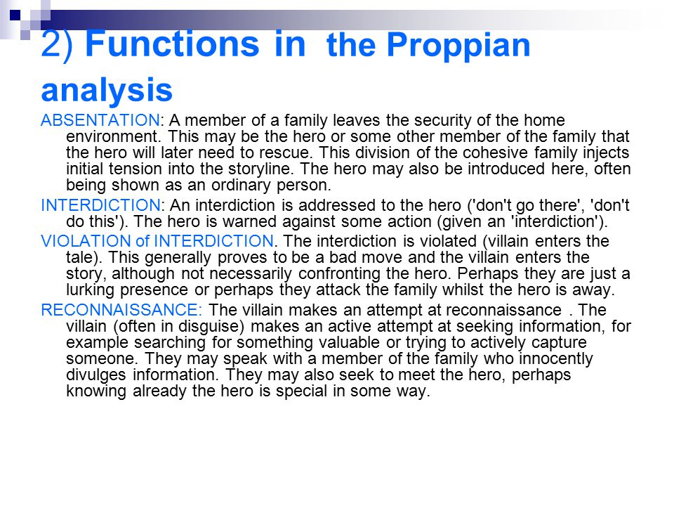 2) Functions in the Proppian analysis