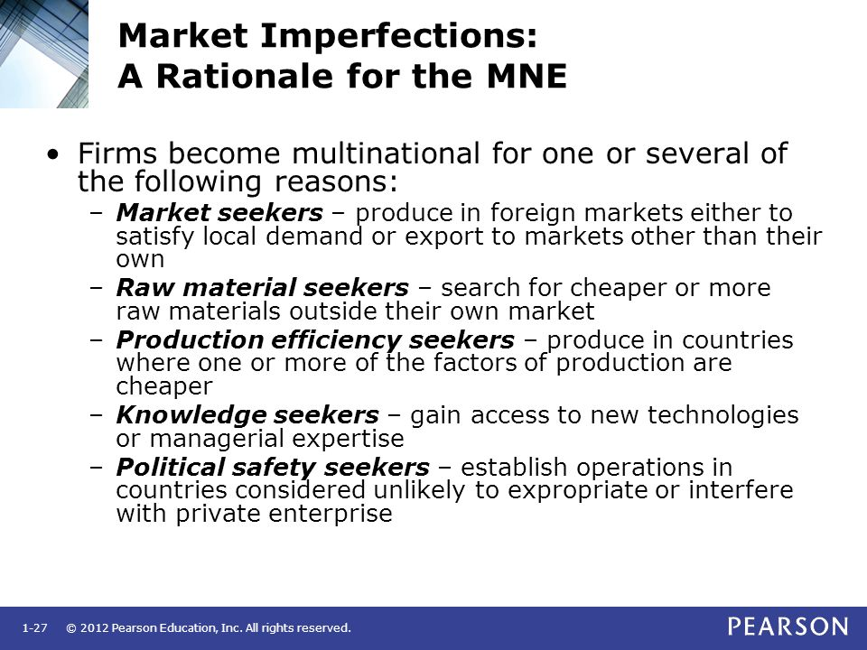 Market Imperfections: A Rationale for the MNE
