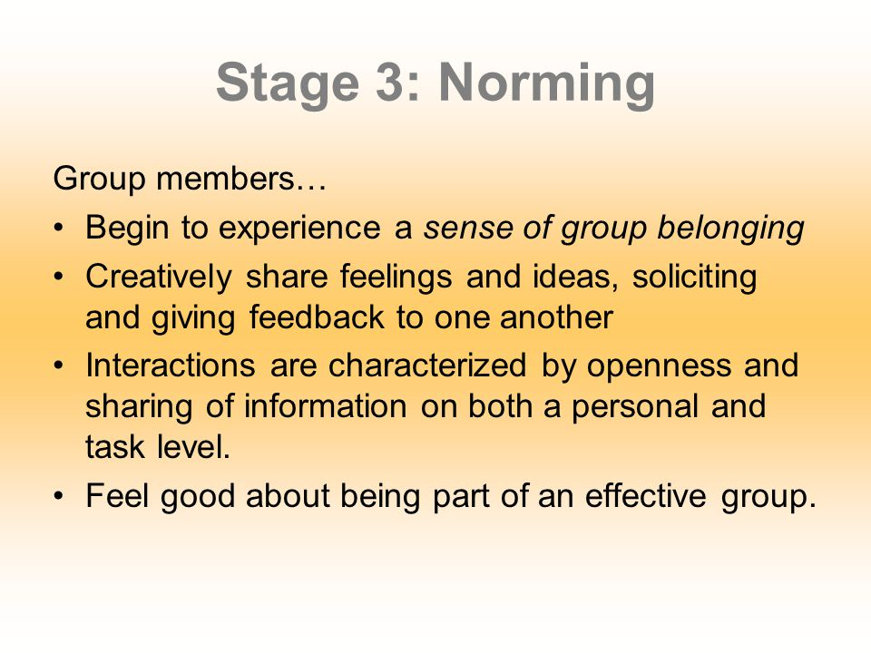 Stage 3: Norming Group members…