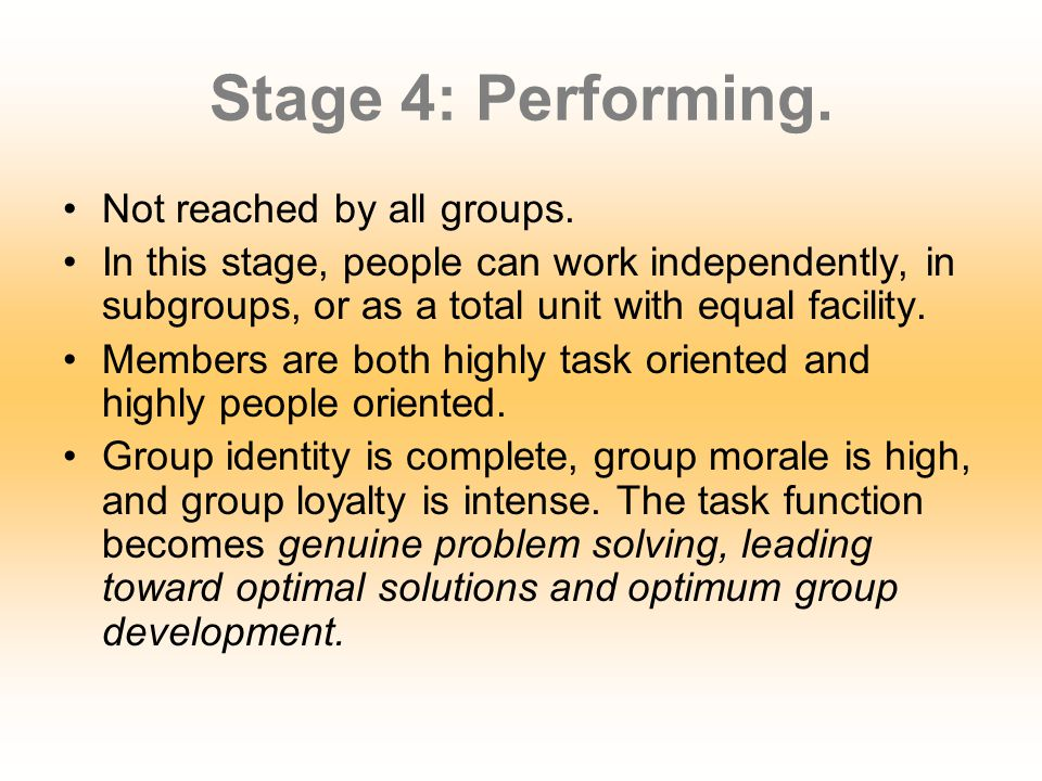 Stage 4: Performing. Not reached by all groups.