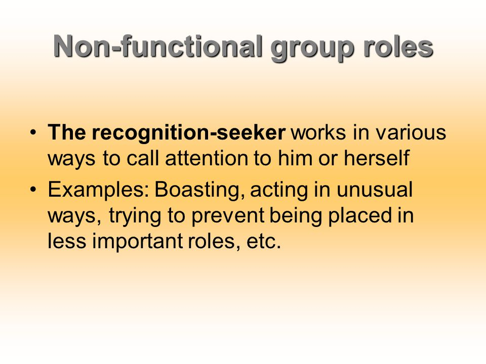 Non-functional group roles