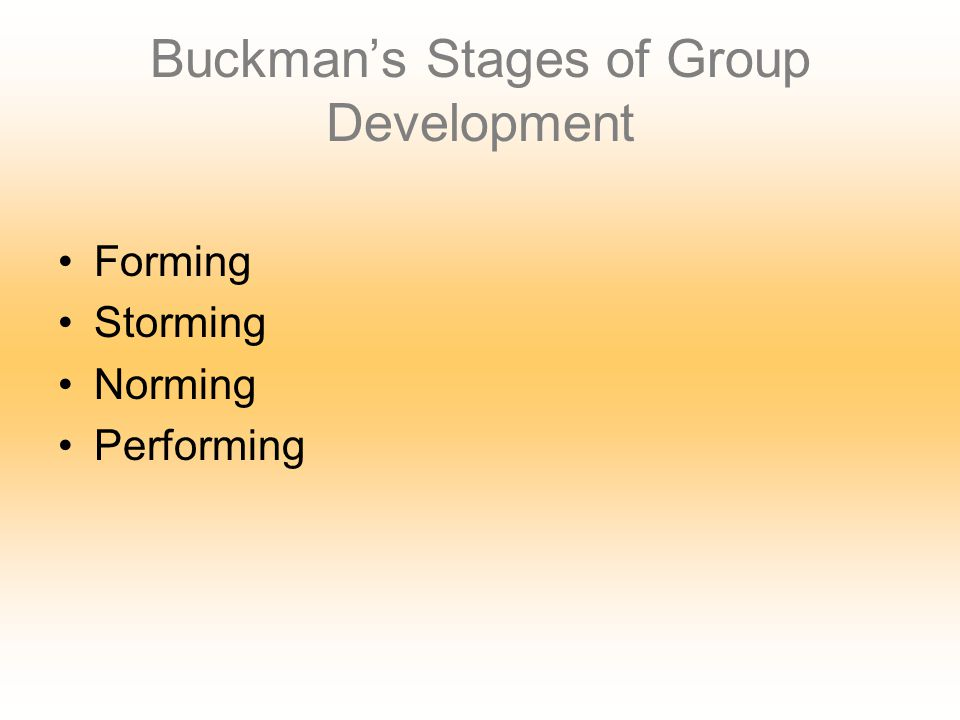 Buckman's Stages of Group Development