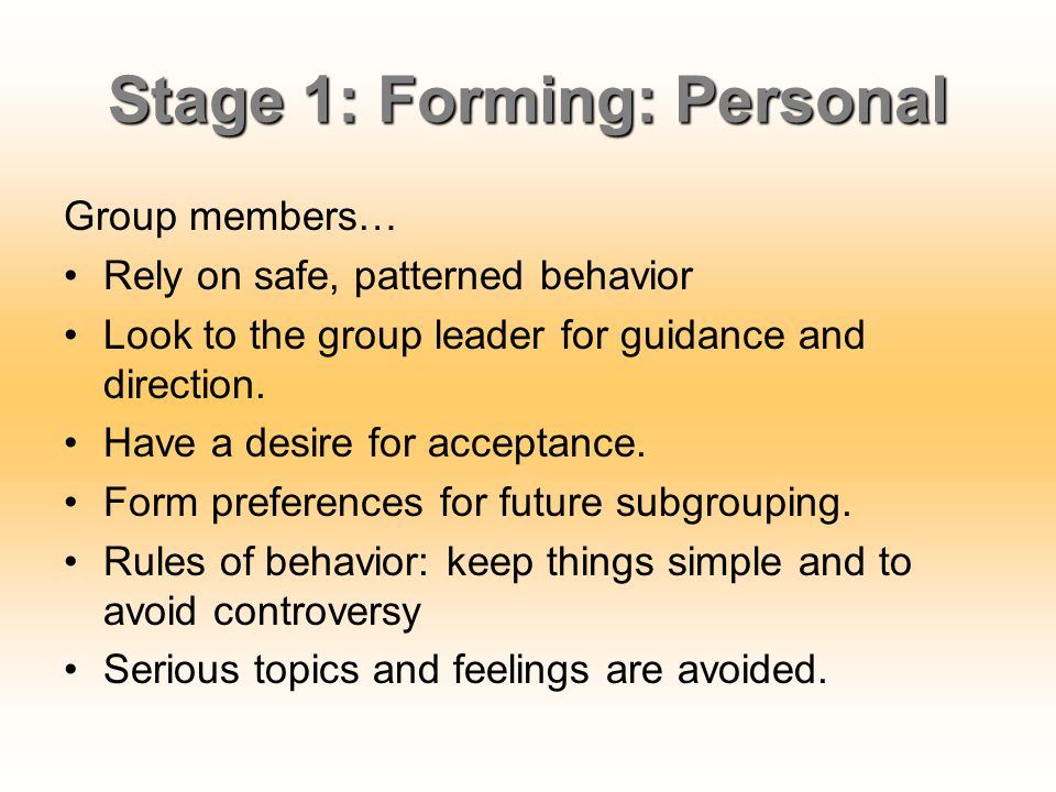 Stage 1: Forming: Personal