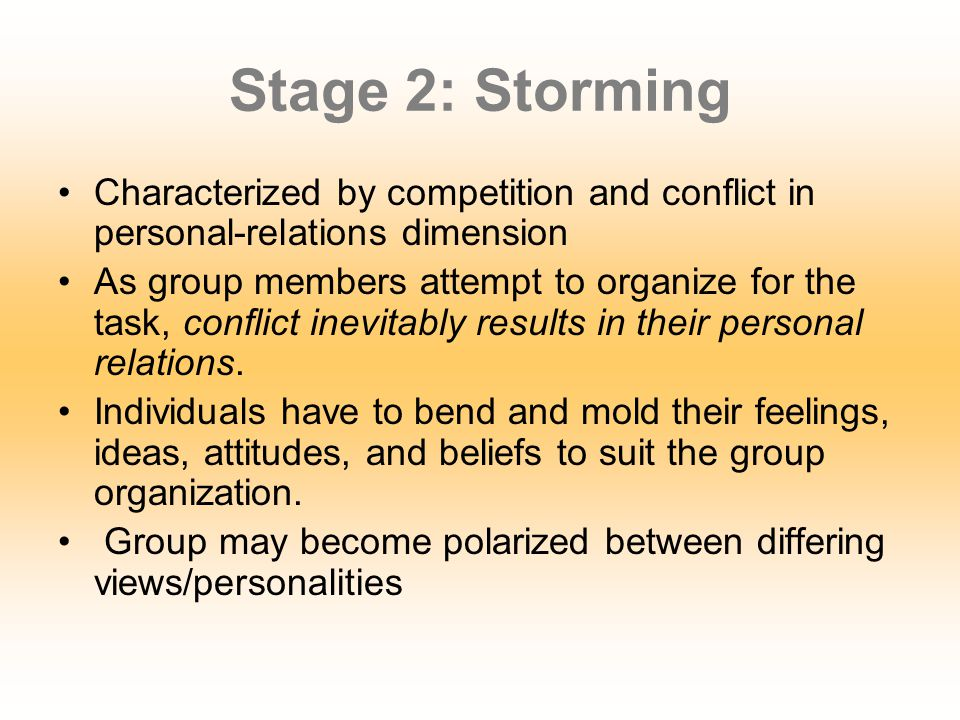 Stage 2: Storming Characterized by competition and conflict in personal-relations dimension.