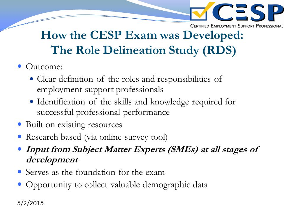 How the CESP Exam was Developed: The Role Delineation Study (RDS)