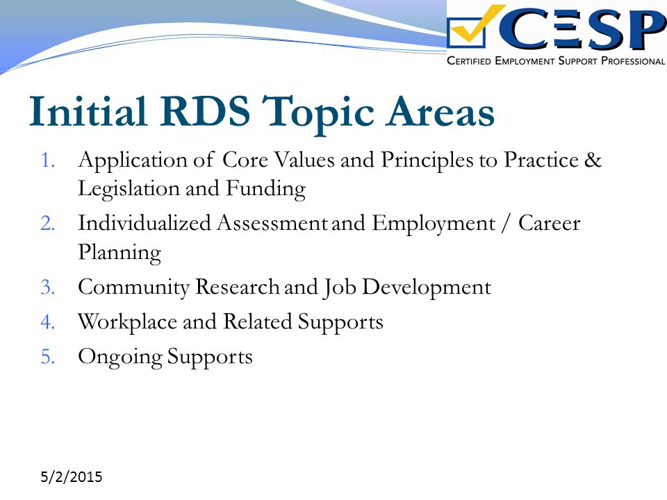 Initial RDS Topic Areas