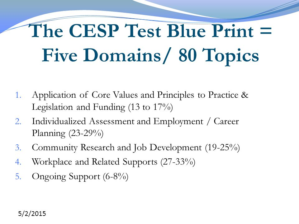 The CESP Test Blue Print = Five Domains/ 80 Topics