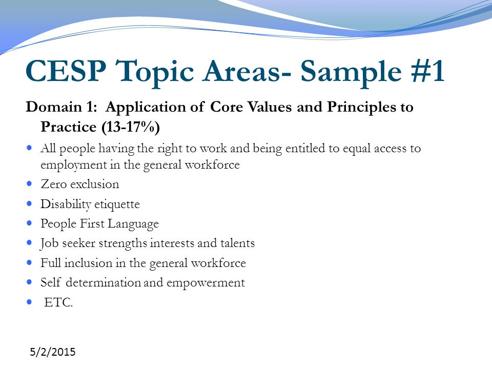 CESP Topic Areas- Sample #1
