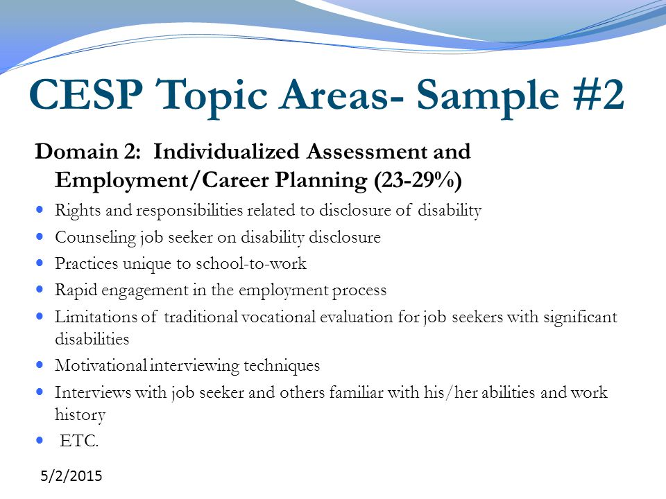 CESP Topic Areas- Sample #2