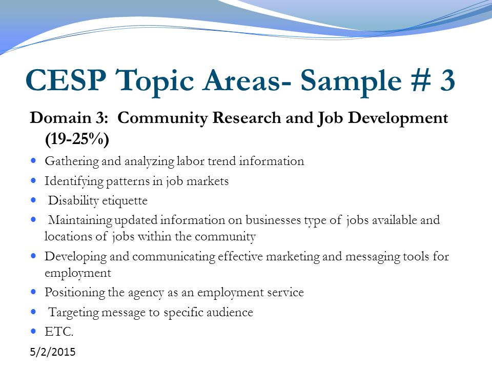 CESP Topic Areas- Sample # 3