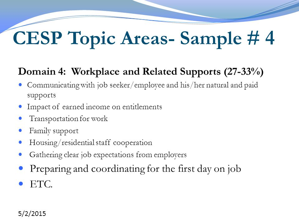 CESP Topic Areas- Sample # 4