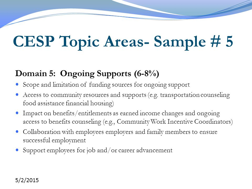 CESP Topic Areas- Sample # 5