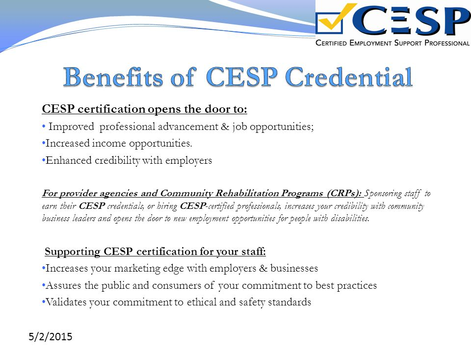 Benefits of CESP Credential