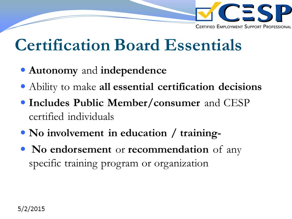 Certification Board Essentials