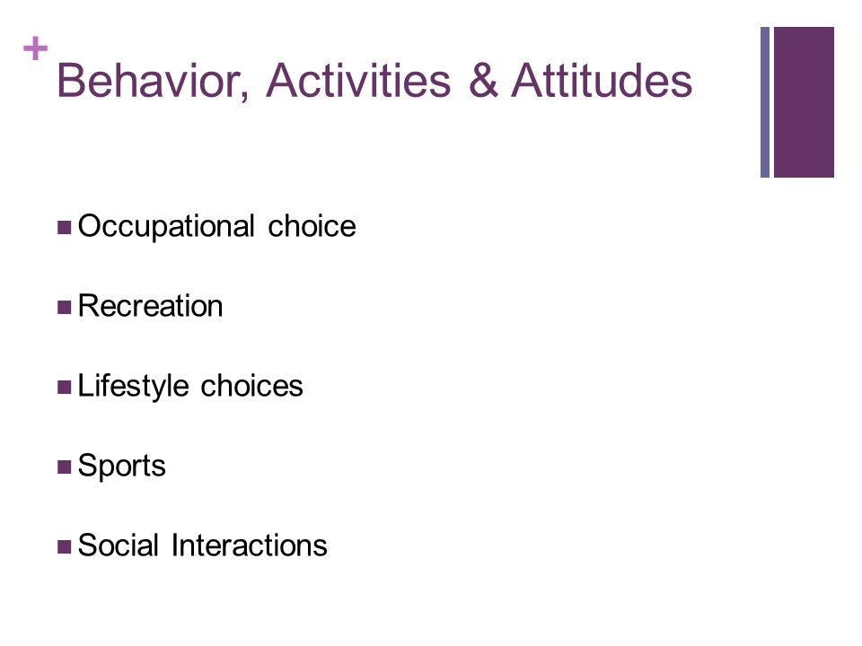 Behavior, Activities & Attitudes