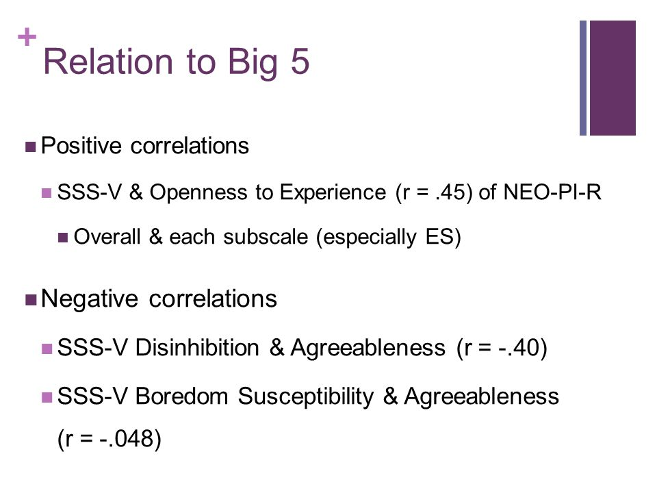 Relation to Big 5 Negative correlations Positive correlations