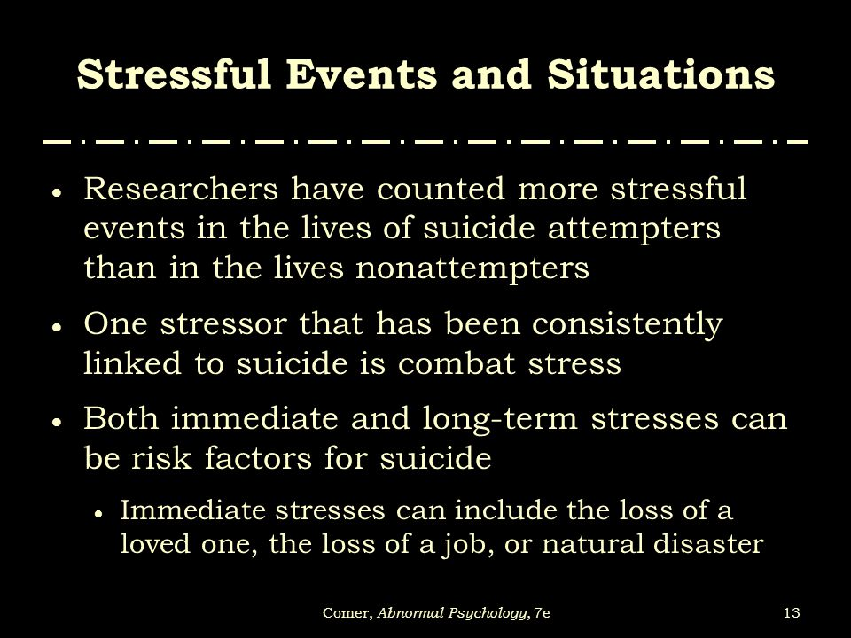 Stressful Events and Situations