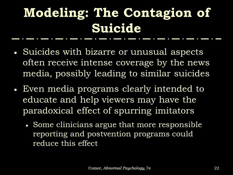 Modeling: The Contagion of Suicide