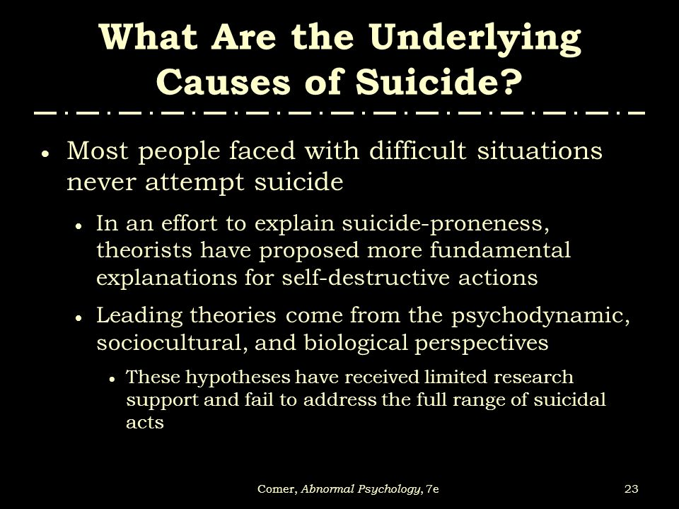 What Are the Underlying Causes of Suicide