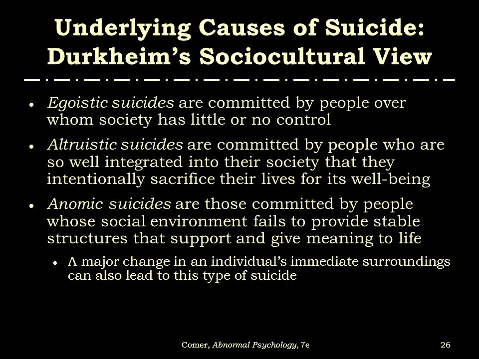 Underlying Causes of Suicide: Durkheim's Sociocultural View
