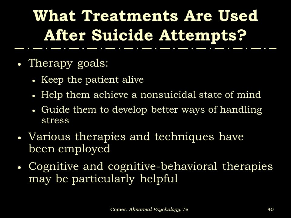 What Treatments Are Used After Suicide Attempts
