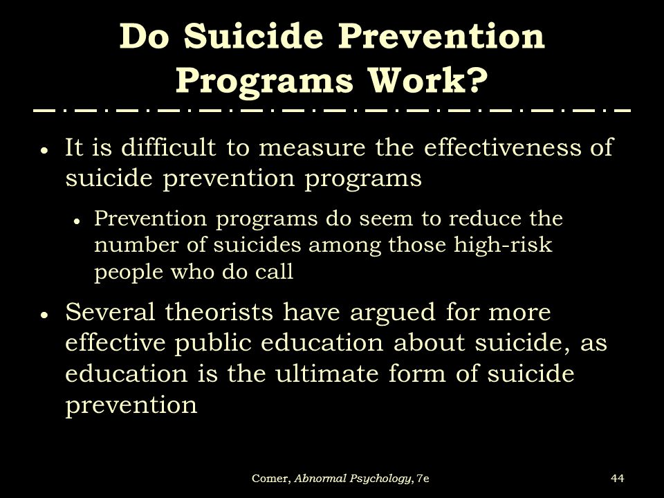 Do Suicide Prevention Programs Work