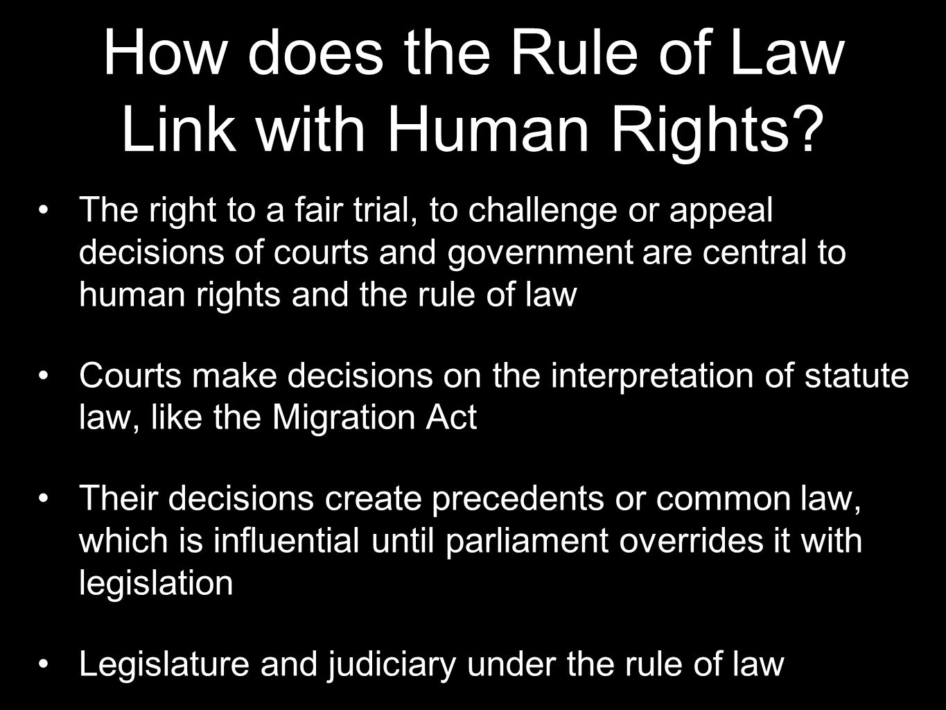 How does the Rule of Law Link with Human Rights