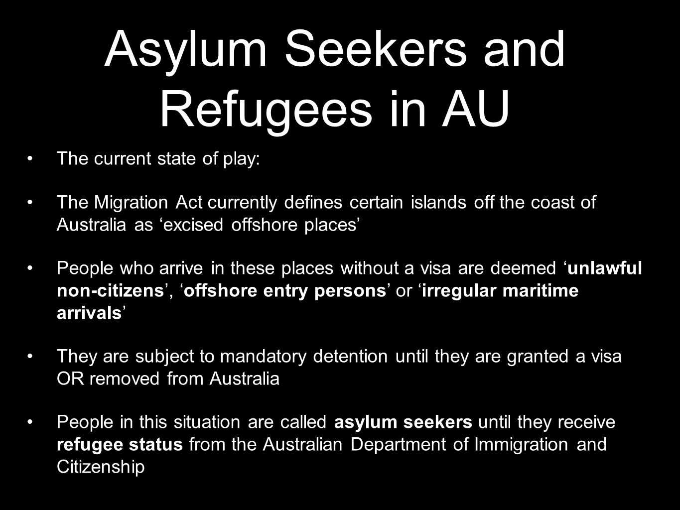 Asylum Seekers and Refugees in AU