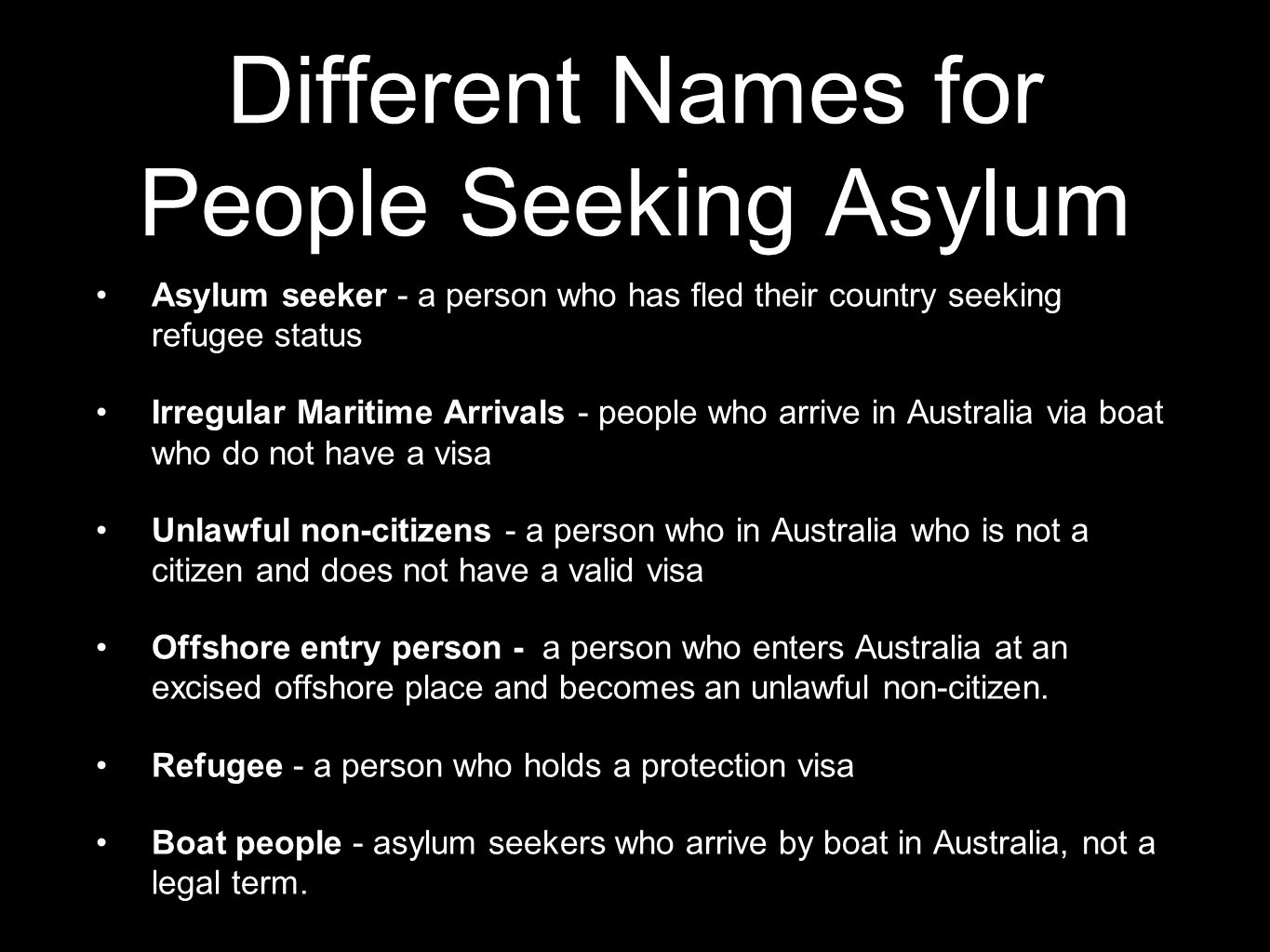 Different Names for People Seeking Asylum