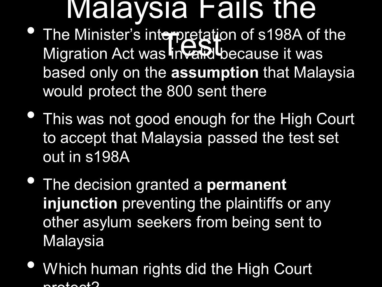 Malaysia Fails the Test