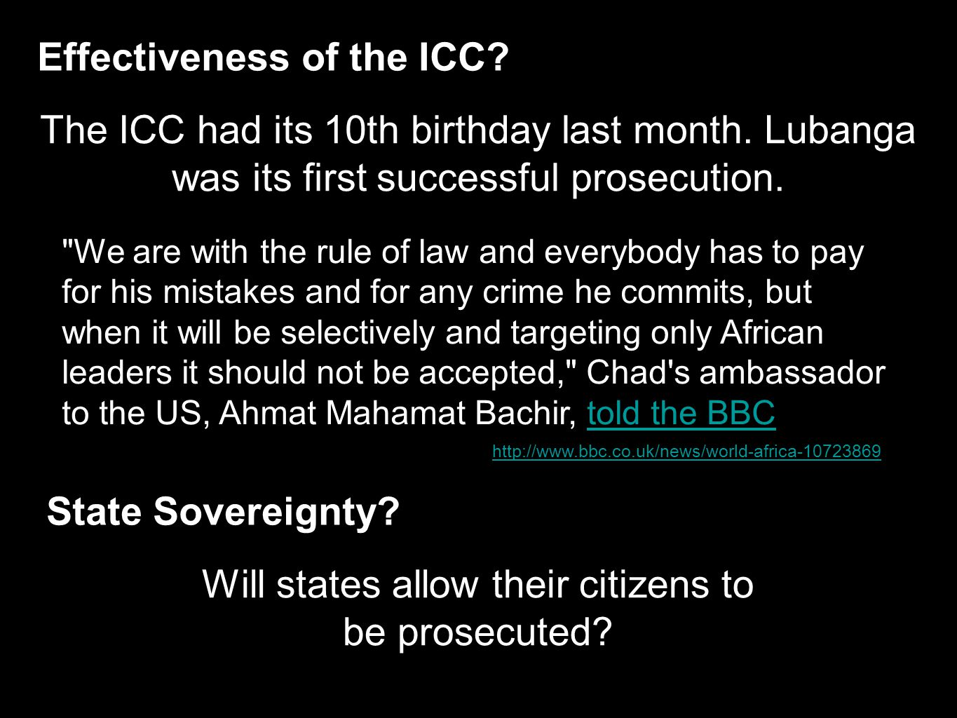 Effectiveness of the ICC