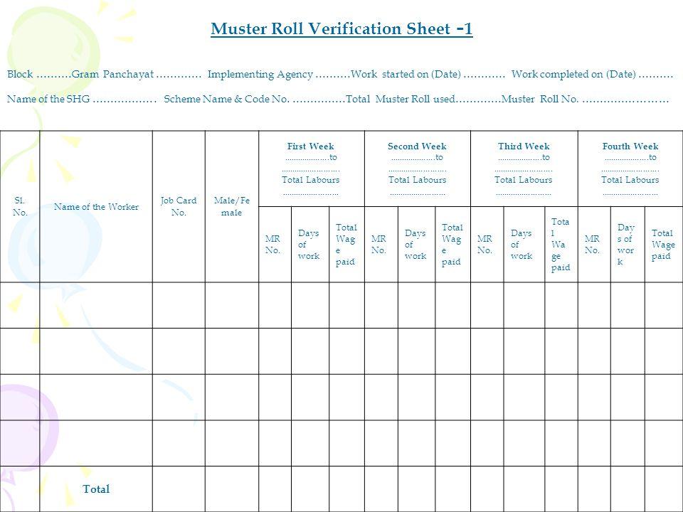 Muster Roll Verification Sheet -1