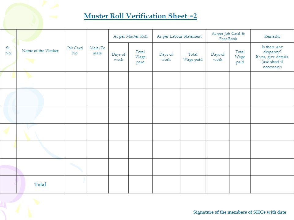 Muster Roll Verification Sheet -2