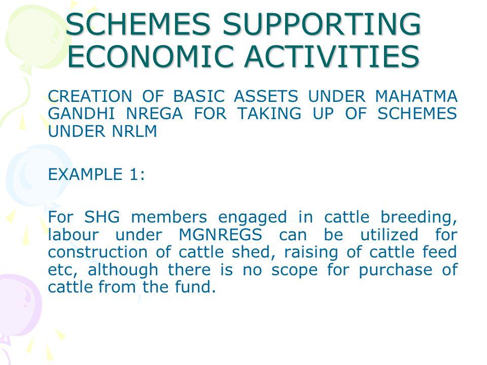 SCHEMES SUPPORTING ECONOMIC ACTIVITIES
