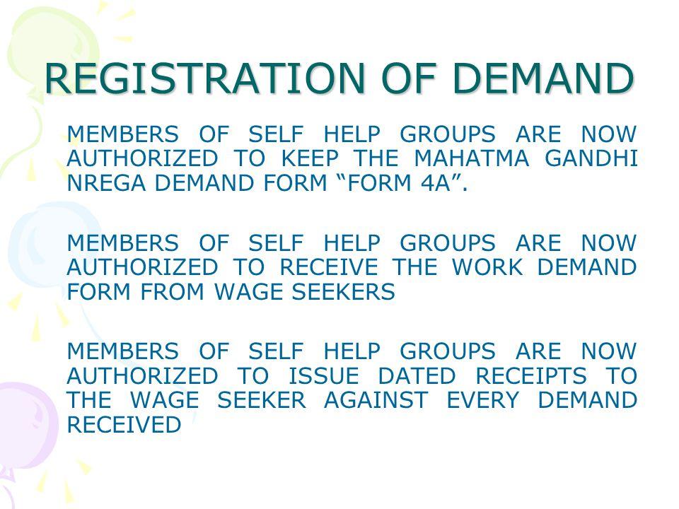 REGISTRATION OF DEMAND