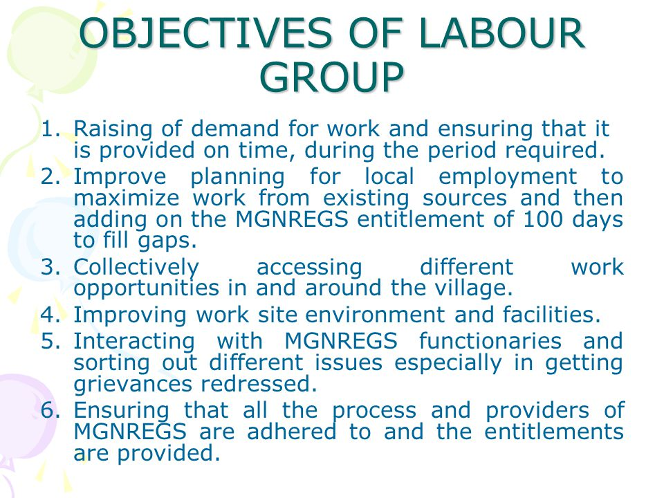 OBJECTIVES OF LABOUR GROUP