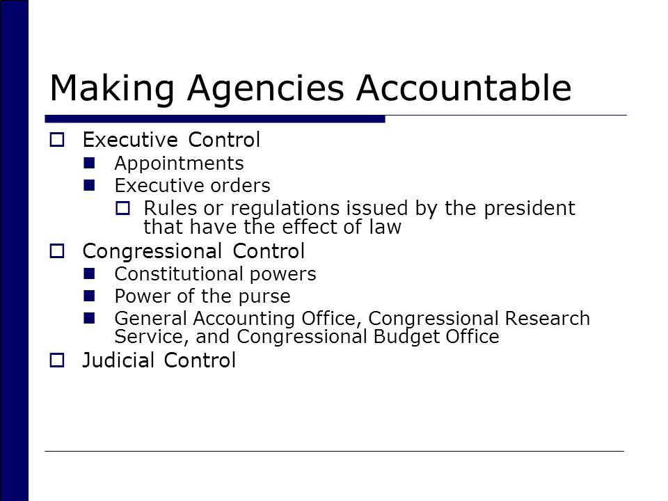 Making Agencies Accountable