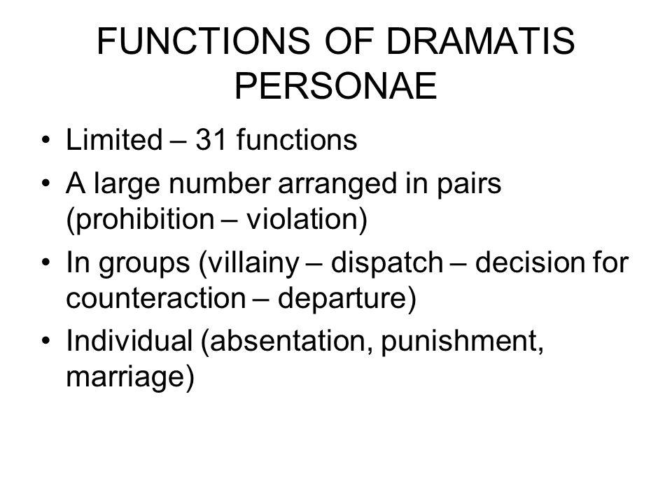 FUNCTIONS OF DRAMATIS PERSONAE