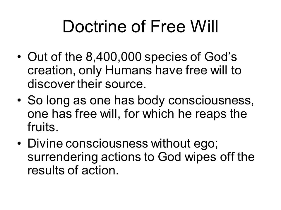 Doctrine of Free Will Out of the 8,400,000 species of God's creation, only Humans have free will to discover their source.