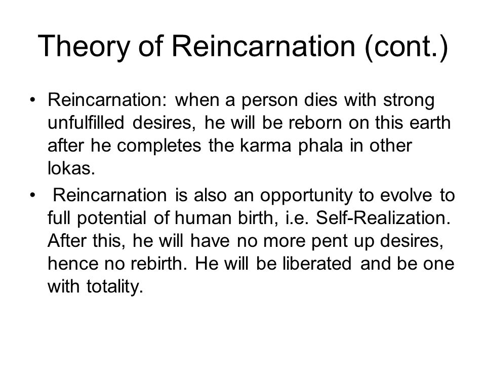 Theory of Reincarnation (cont.)