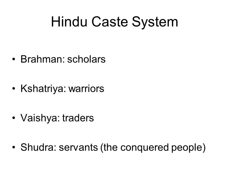 Hindu Caste System Brahman: scholars Kshatriya: warriors