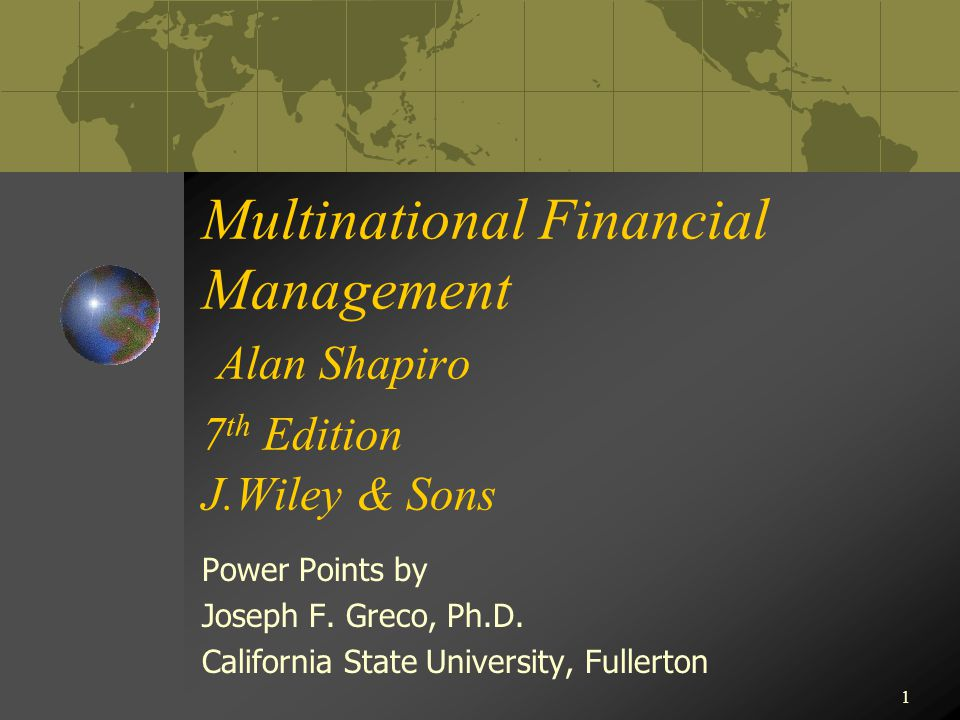Multinational Financial Management Alan Shapiro 7th Edition J