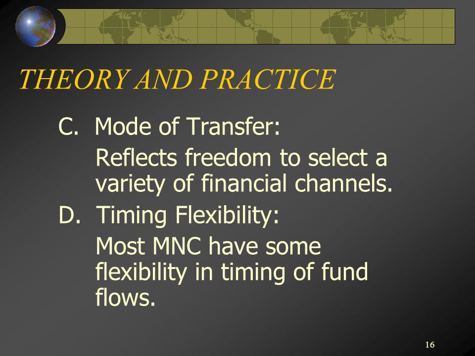 THEORY AND PRACTICE C. Mode of Transfer: