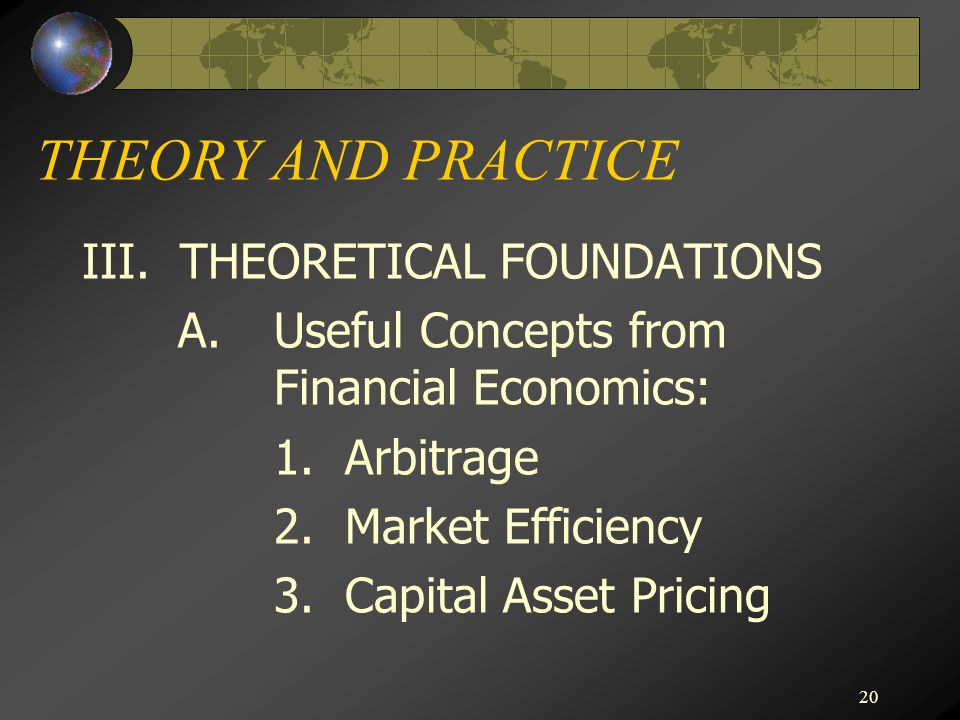 THEORY AND PRACTICE III. THEORETICAL FOUNDATIONS