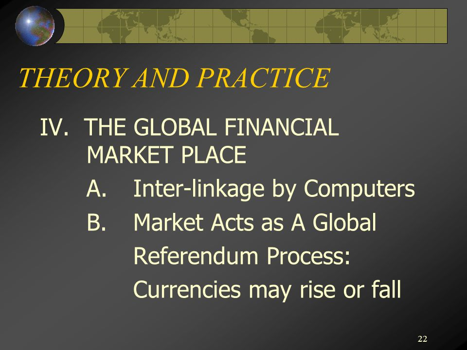 THEORY AND PRACTICE IV. THE GLOBAL FINANCIAL MARKET PLACE