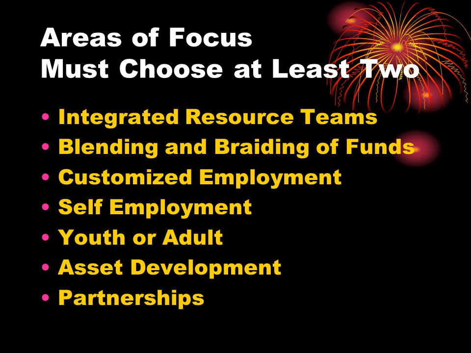 Areas of Focus Must Choose at Least Two